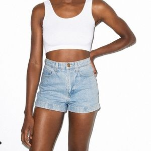 American Apparel Denim High Waist Cuff Shorts